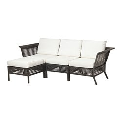KUNGSHOLMEN sofa with footstool, outdoor, black-brown, Kungsö white