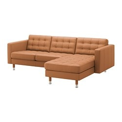 LANDSKRONA, Sofa, with chaise, Grann/Bomstad golden brown/metal