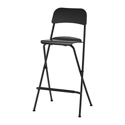 FRANKLIN, Bar stool with backrest, foldable, black, black