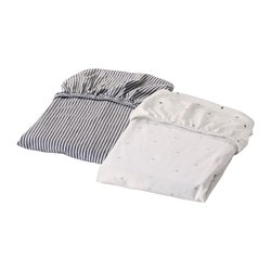 SOLGUL fitted sheet for cradle, dotted, striped