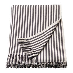TUVALIE throw, striped white, dark grey