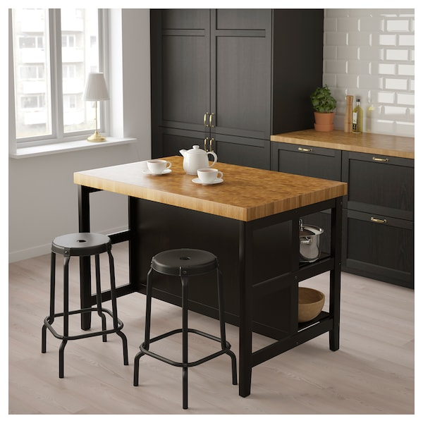 Vadholma Kitchen Island Black Oak