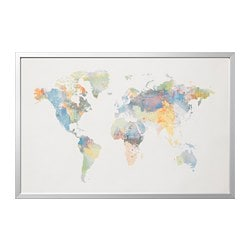 BJÖRKSTA picture with frame, our world, aluminium-colour