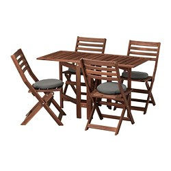 ÄPPLARÖ table and 4 folding chairs, outdoor, brown stained, Frösön/Duvholmen dark gray