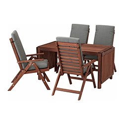 ÄPPLARÖ table + 4 reclining chairs, outdoor, brown stained, Frösön/Duvholmen dark gray
