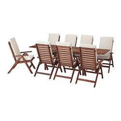 ÄPPLARÖ table+8 reclining chairs, outdoor, brown stained, Frösön/Duvholmen beige