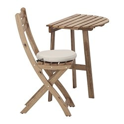 ASKHOLMEN wall table & folding chair, outdoor, gray-brown stained, Frösön/Duvholmen beige