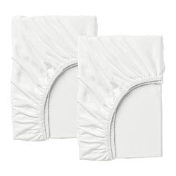 LEN fitted sheet f/extend bed, set of 2, white