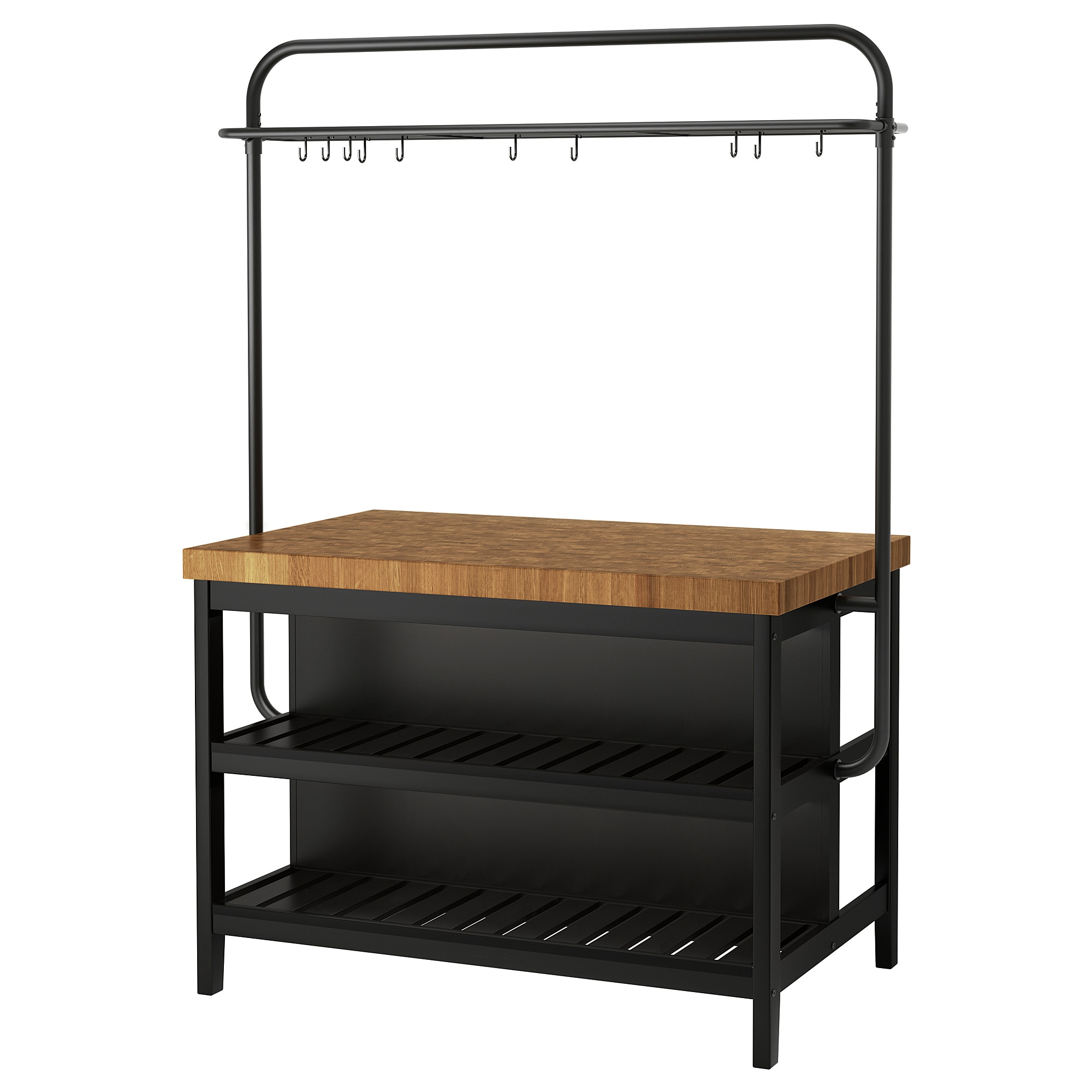 Kitchen Island With Rack Vadholma Black Oak