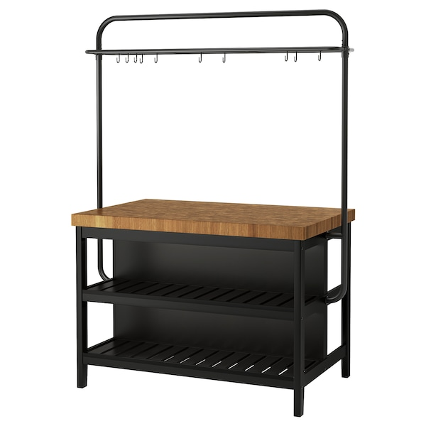 Kitchen island with rack VADHOLMA black, oak