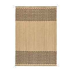 LÖNHOLT rug, flatwoven, natural, dark brown