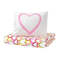 VITAMINER HJÄRTA quilt cover and pillowcase, multicolour