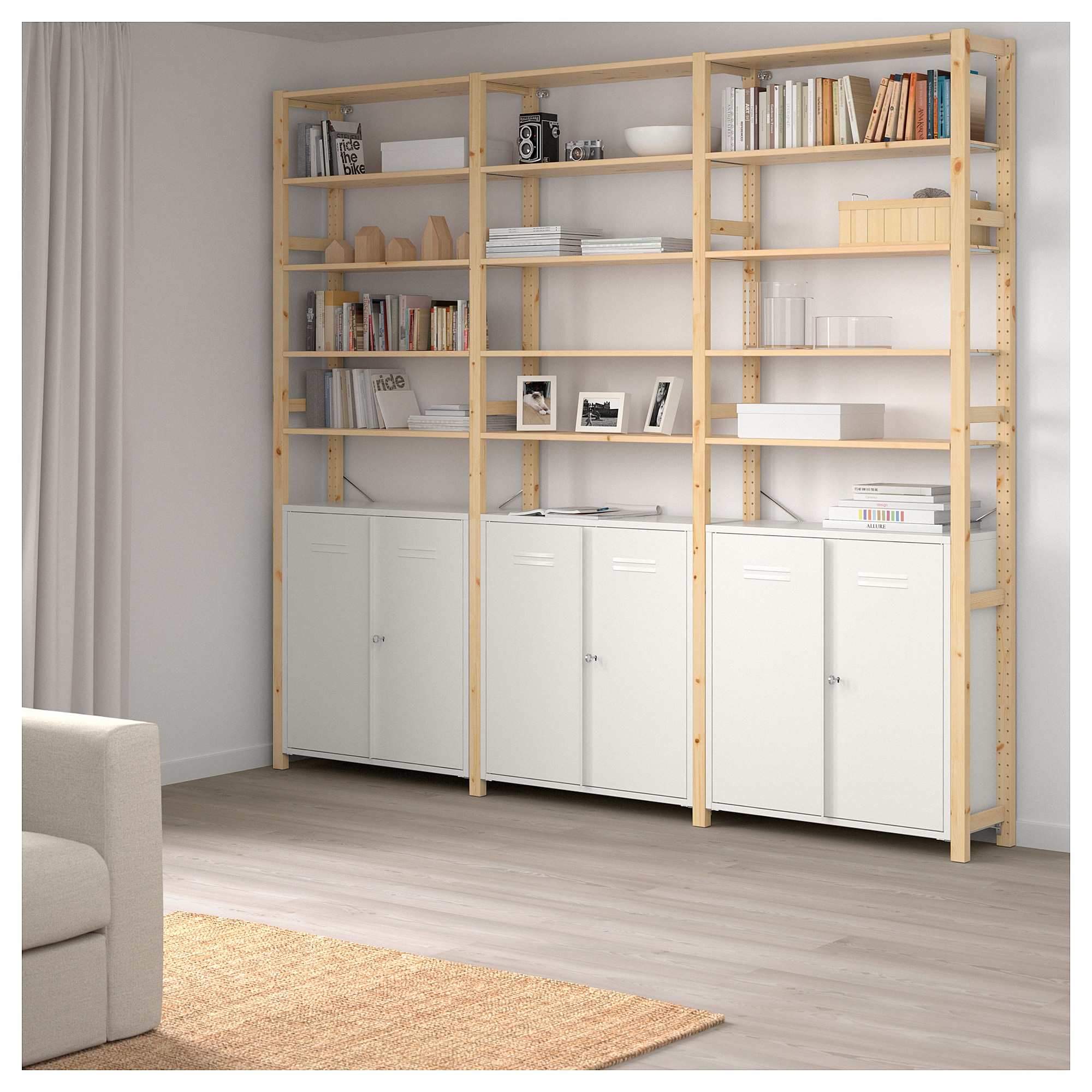 White Pine Cabinets: IVAR 3 Sections/cabinet/shelves