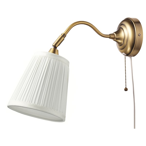 197 Rstid Wall Lamp Brass White Ikea