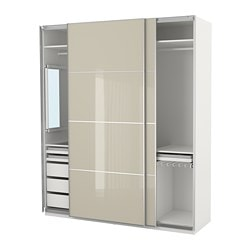 PAX Wardrobe, White Hokksund, High Gloss Light Beige