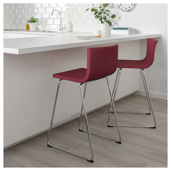 Bernhard Bar Stool With Backrest Chrome Plated Mjuk