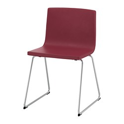 BERNHARD chair, chrome plated, Mjuk dark red