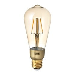 LUNNOM LED bulb E26 400 lumen, dimmable, tear drop shape brown clear glass