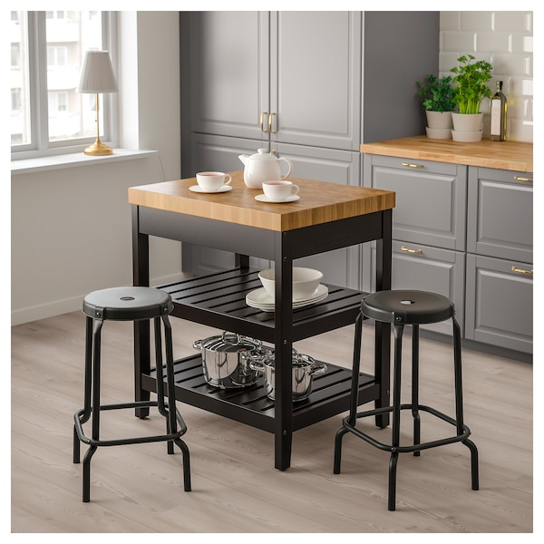 Kitchen island VADHOLMA black, oak