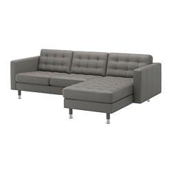 LANDSKRONA sofa, with chaise, Grann/Bomstad gray-green/metal