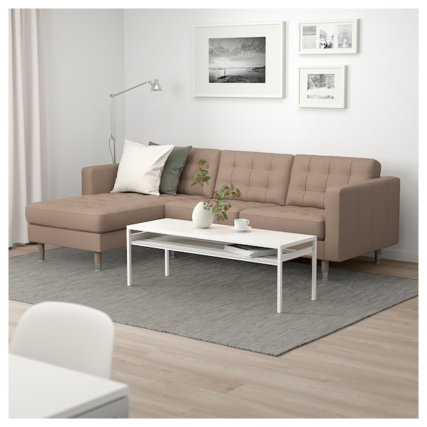 landskrona sofa with chaise grann bomstad dark beige. Black Bedroom Furniture Sets. Home Design Ideas