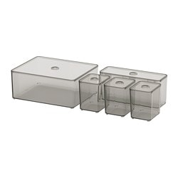 GODMORGON Box with lid, set of 5