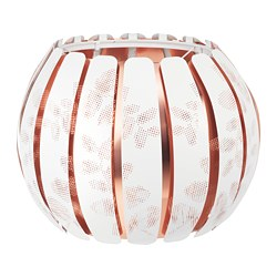ÖVERUD lamp shade, white, copper color
