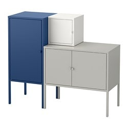 LIXHULT storage combination, grey/white, dark blue