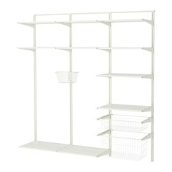 ALGOT wall upright, shelf and basket, white