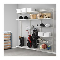 ALGOT, Wall upright, shelf and basket, white