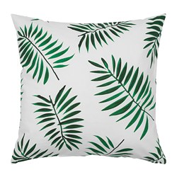 VINDFLÄKT cushion cover, white, green leaves
