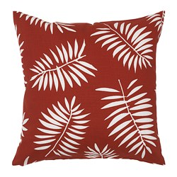 VINDFLÄKT cushion cover, dark red, white leaves