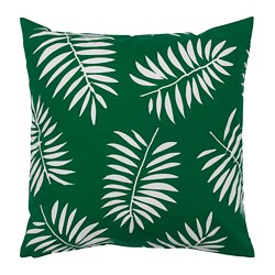 VINDFLÄKT cushion cover, green, white leaves