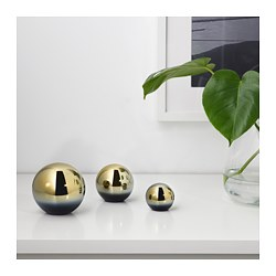 DAGDRÖM, Decorative ball, set of 3, brass color