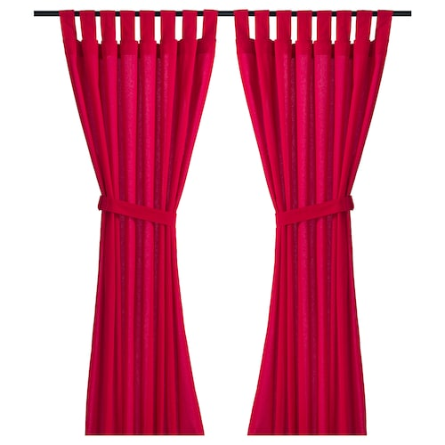 IKEA DITTE Curtains with tie-backs, 1 pair