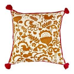 URSPRUNGLIG cushion cover, white, golden brown