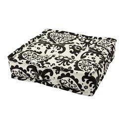 URSPRUNGLIG floor cushion, white/black