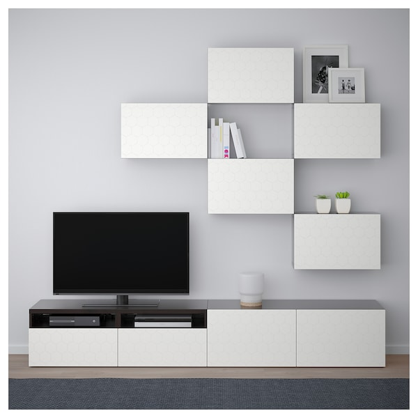 best tv m bel kombination schwarzbraun vassviken wei ikea. Black Bedroom Furniture Sets. Home Design Ideas