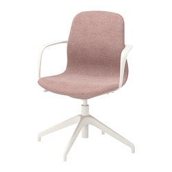 LÅNGFJÄLL conference chair with armrests, Gunnared light brown-pink, white