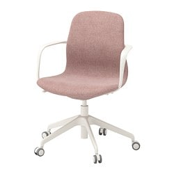 LÅNGFJÄLL swivel chair, Gunnared light brown-pink, white