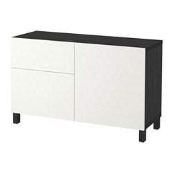 BESTÅ storage combination w doors/drawers, black-brown, Vassviken/Stubbarp white