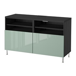 BESTÅ TV bench with doors, black-brown, Selsviken/Stallarp high-gloss/light grey-green