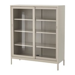 IDÅSEN cabinet with sliding glass doors, beige