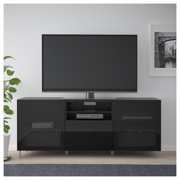 low priced a081f b22f4 BESTÅ TV unit with drawers, black-brown, Selsviken/Stallarp high  gloss/black smoked glass