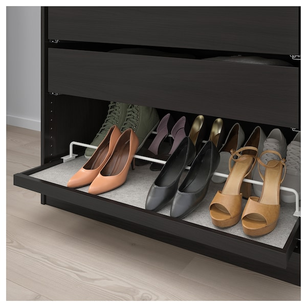 KOMPLEMENT Pull-out tray with shoe rail, black-brown, white
