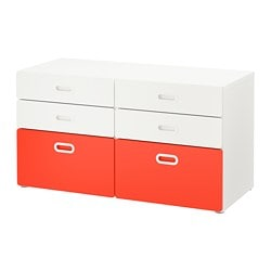 STUVA /  FRITIDS 6-drawer dresser, white, red
