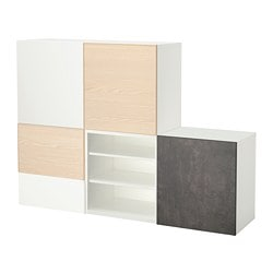 BESTÅ storage combination w doors/drawers, white Kallviken, Inviken ash veneer