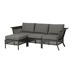 KUNGSHOLMEN sofa with footstool, outdoor, black-brown, Frösön/Duvholmen dark gray