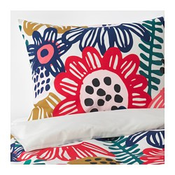 SOMMARASTER quilt cover and pillowcase, white, multicolour