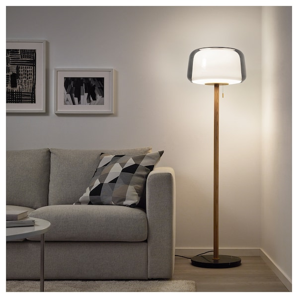 Floor lamp with LED bulb EVEDAL marble gray, gray